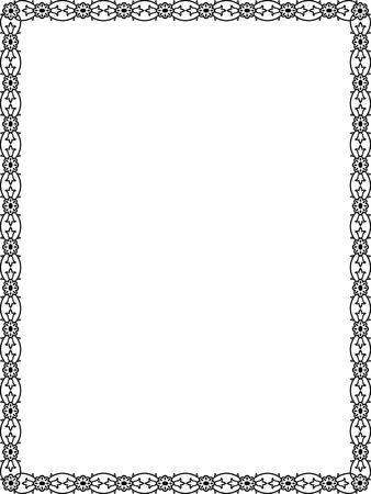 marcos decorados: Flores y hojas de la planta marco de la frontera, Negro y Blanco
