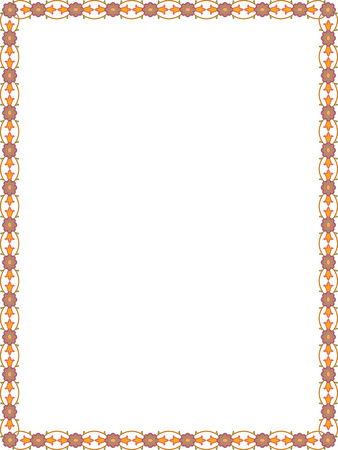 simple border: Flowers and plant leaves border frame, Colored