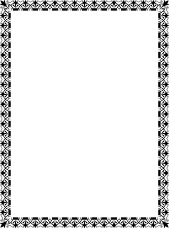 thick: Garnished vector frame, Grayscale Illustration