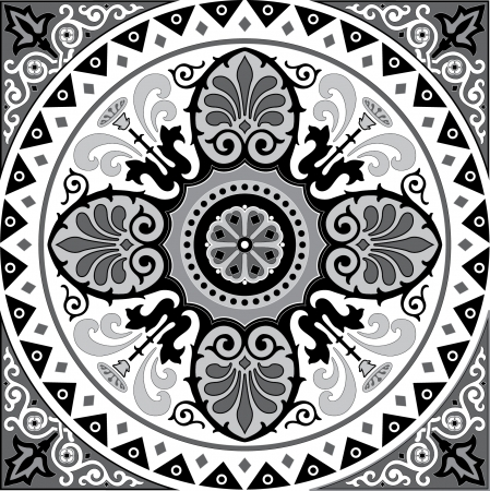 stylize: Oriental decorative pattern, Grayscale