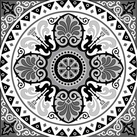 escala de grises patrn decorativo oriental en escala de grises vectores