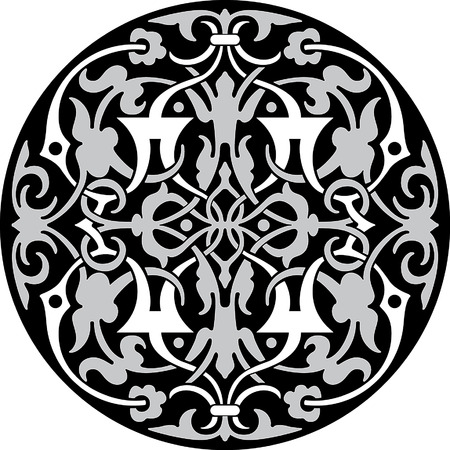 Circle ornament pattern, Grayscale Vector