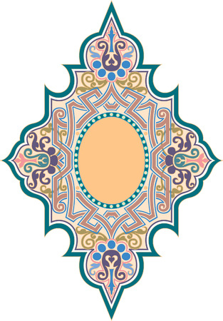 Oriental decorative pattern, Colored