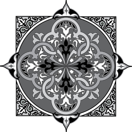 thick: Oriental decorative pattern, Grayscale