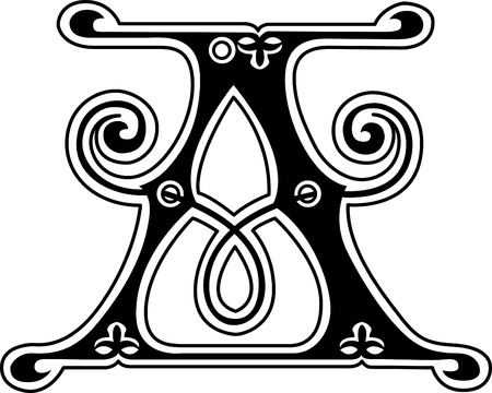 stílus: Klasszikus stílus, angol ábécé betű, fekete-fehér