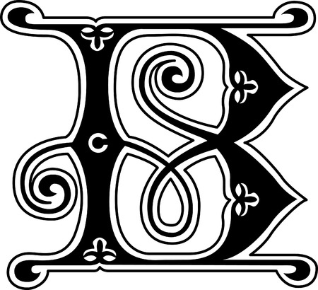 old english letters: Classic style, English alphabet letter B, monochrome Illustration