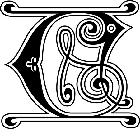 old english letter alphabet: Classic style, English alphabet letter C, monochrome