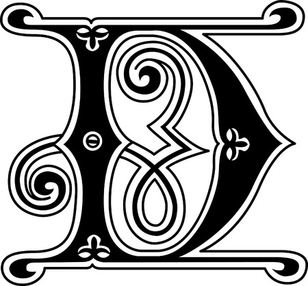 twenty six: Classic style, English alphabet letter D, monochrome