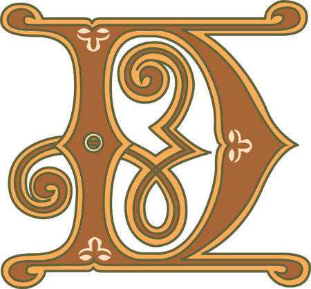 s c u b a: Classic style, English alphabet letter D, colored Illustration