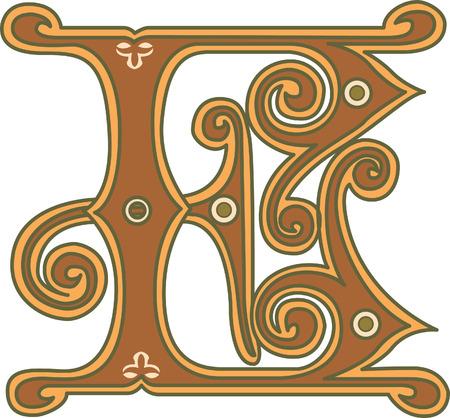 e u: Classic style, English alphabet letter E, colored