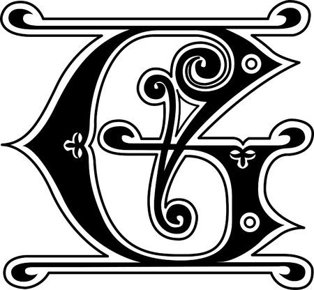 twenty six: Classic style, English alphabet letter G, monochrome