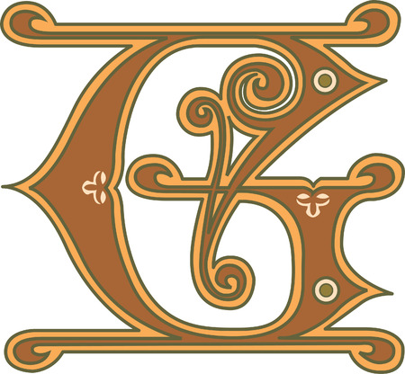 Classic style, English alphabet letter G, colored