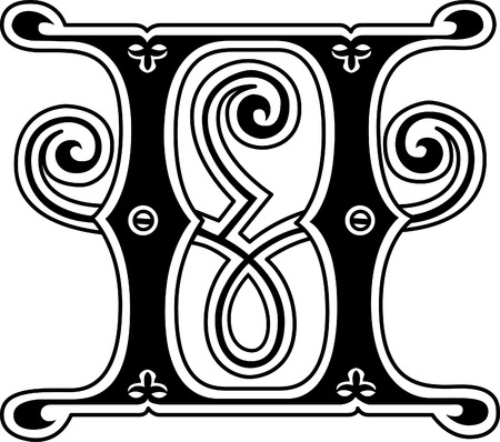 stílus: Klasszikus stílus, angol ábécé H betű, fekete-fehér