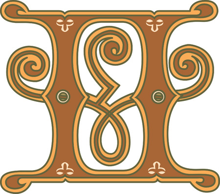 twenty six: Classic style, English alphabet letter H, colored