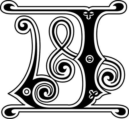 stílus: Klasszikus stílus, az angol ábécé levél J, fekete-fehér
