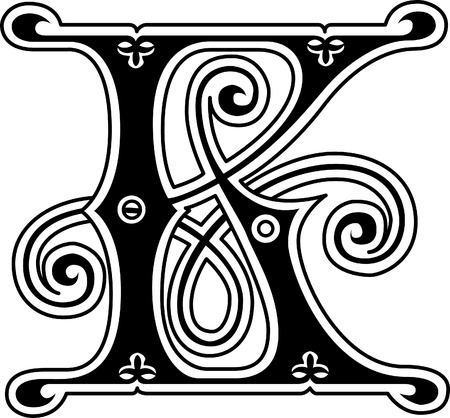 old english letters: Classic style, English alphabet letter K, monochrome Illustration
