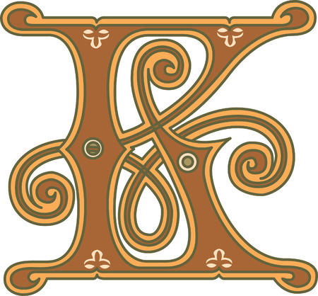 i nobody: Classic style, English alphabet letter K, colored