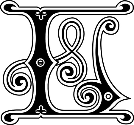 old english letters: Classic style, English alphabet letter L, monochrome