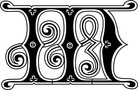 Classic style, English alphabet letter M, monochrome Vector