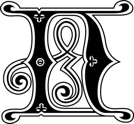 twenty six: Classic style, English alphabet letter N, monochrome Illustration