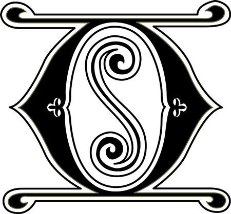 i nobody: Classic style, English alphabet letter O, monochrome Illustration