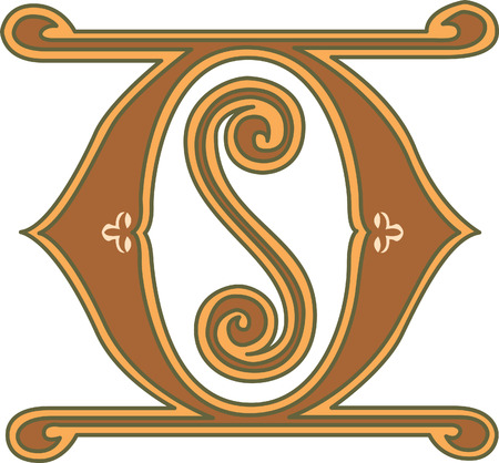 s m: Classic style, English alphabet letter O, colored