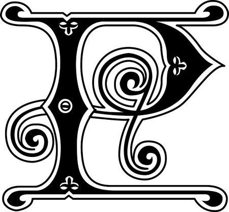 stílus: Klasszikus stílus, angol ábécé P betű, fekete-fehér