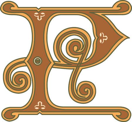 twenty six: Classic style, English alphabet letter P, colored