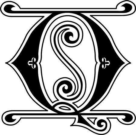 s m: Classic style, English alphabet letter Q, monochrome