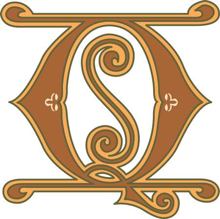 s c u b a: Classic style, English alphabet letter Q, colored Illustration