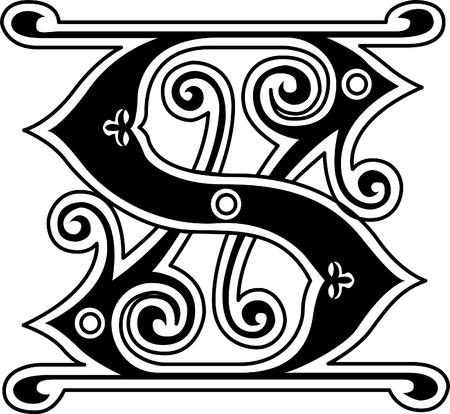 Classic style, English alphabet letter S, monochrome Vector