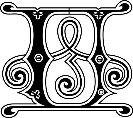 s c u b a: Classic style, English alphabet letter U, monochrome