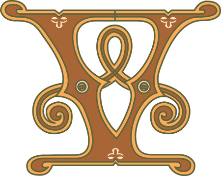 twenty six: Classic style, English alphabet letter V, colored