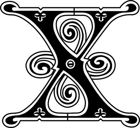 クラシックなスタイル、英語のアルファベットの手紙 X、モノクロ