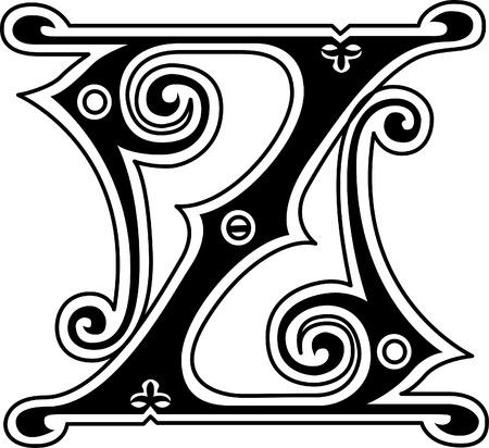 old english letters: Classic style, English alphabet letter Z, monochrome