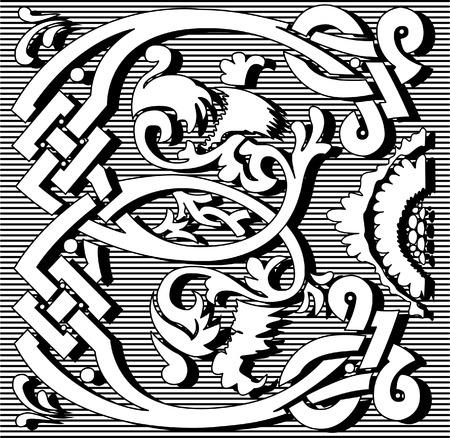 English alphabet letter E, with flowers ornament, monochrome Vector