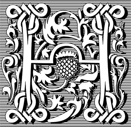 English alphabet letter H, with flowers ornament, monochrome