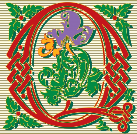 English alphabet letter Q, with flowers ornament, colored Vector