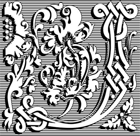 English alphabet letter J, with flowers ornament, monochrome