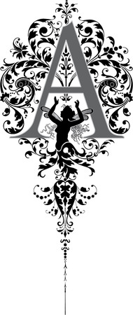 c r t: Fantasy style, English alphabet, letter A, Grayscale