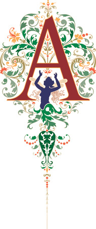Fantasy style, English alphabet, letter A, Colored