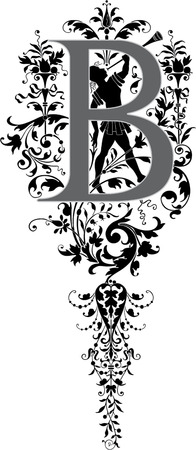Fantasy style, English alphabet, letter B, Grayscale Vector