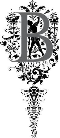 Fantasy style, English alphabet, letter B, Grayscale