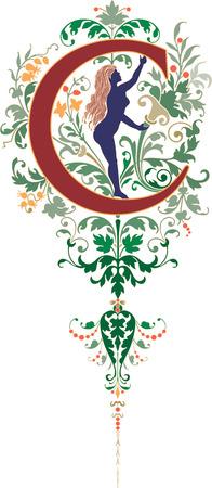 alphabet lettre: Style fantastique, alphabet anglais, lettre C, de couleur