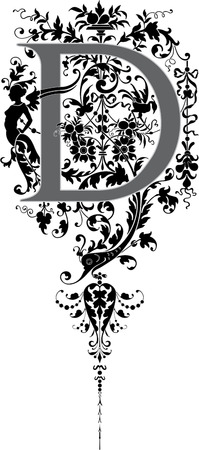 Fantasy style, English alphabet, letter D, Grayscale Vector