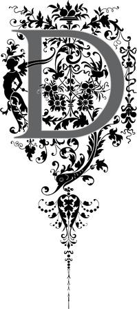 twenty six: Fantasy style, English alphabet, letter D, Grayscale