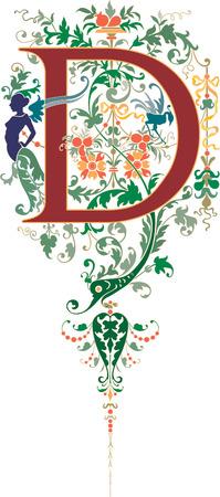 ファンタジーのスタイル、英語のアルファベット、手紙 D、色  イラスト・ベクター素材