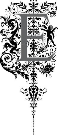 alphabet lettre: Style fantastique, alphabet anglais, lettre E, Niveaux de gris Illustration