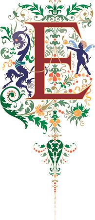 twenty six: Fantasy style, English alphabet, letter E, Colored Illustration