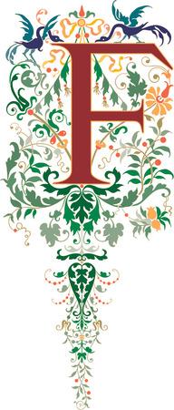 ファンタジーのスタイル、英語のアルファベットは、文字 F、色  イラスト・ベクター素材